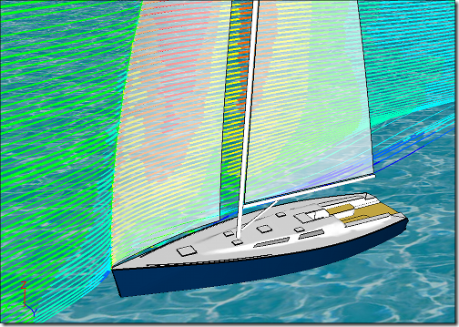 Streamlines Around a Sail Yacht