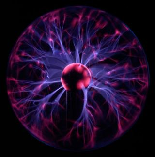 Plasma Lamp: Showing blue/violet flares similar to corona discharge