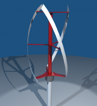 Helical Blade Vertical-Axis Wind Turbine
