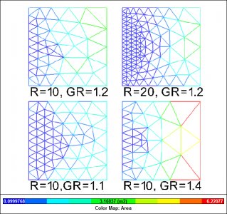 Mesh Element Size: R = Resolution, GR = Growth Rate parameter