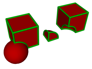 Boolean Operations: Left to right: unite, intersect and subtract, for a box and sphere
