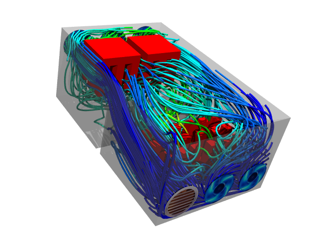 Forced Convection Caedium CFD Simulation: Shows streamlines colored by temperature