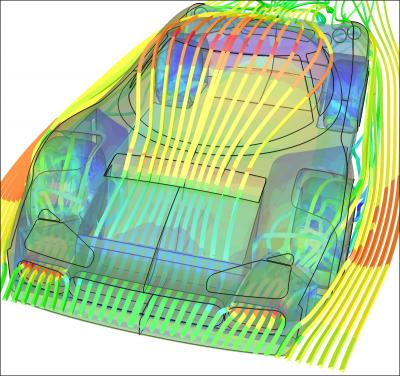 Parallel Caedium CFD Simulation of a Racecar: 5 million cells
