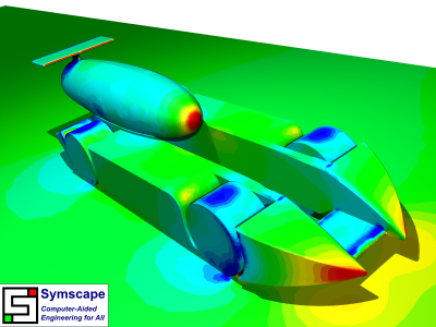 Caedium CFD Simulation of Winning Car: Showing pressure contours