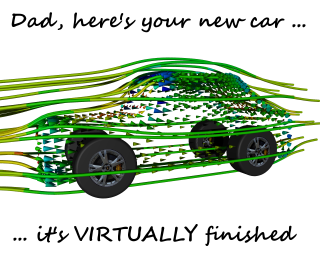 Virtual Car Illustration: Geometry created and simulated using our Caedium Professional add-on, rendered by POV-Ray and text added in GIMP. Notice the texture-mapped wheels.