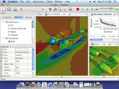 Caedium on Mac OS X: Showing an airflow simulation around an F1 in Schools dragster