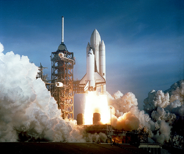 NASA's Space Shuttle STS-1 Columbia launch on April 12, 1981