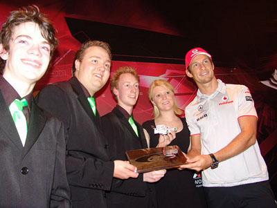Jenson Button presenting awards to Basilisk Performance