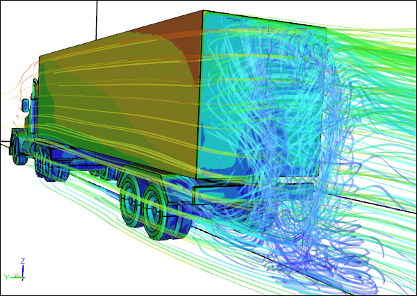 Turbulent Air Flow Behind a Truck