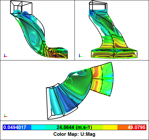 Compressor Passage CFD Simulation - Iso-surfaces