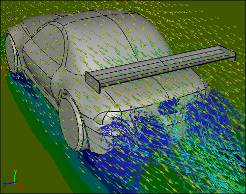 CFD Simulation of a Car with a Rear Wing