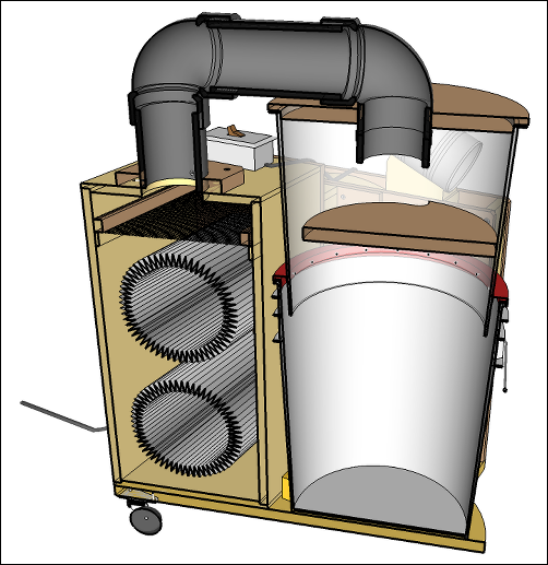 Small Dust Collector SketchUp Model Section
