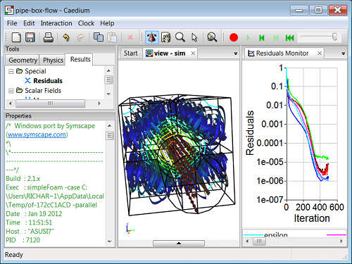 Testing OpenFOAM 2.1.x with Caedium on Windows