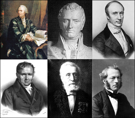Euler, Navier, Cauchy, Poisson, Saint Venant, and Stokes