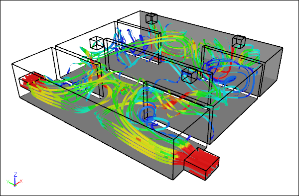 Internal flow with cfd symscape for Air circulation in a room