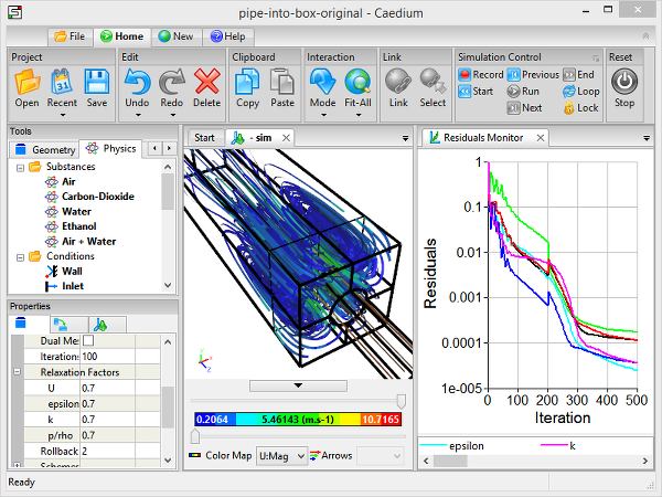 CFD Simulation Steering in Caedium