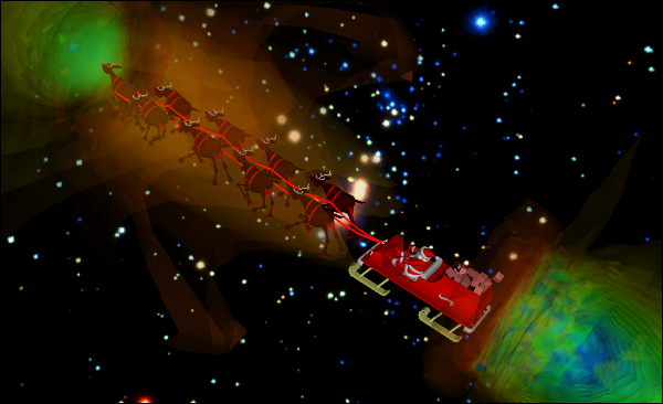 CFD Simulation of Reality Distortion Field Around Santa and his Entourage