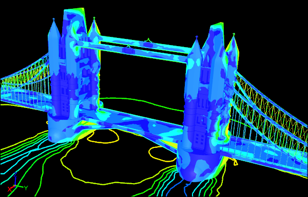 Tower Bridge CFD Shaded Velocity Contours