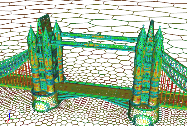 Tower Bridge Caedium CFD Polygon Surface Mesh