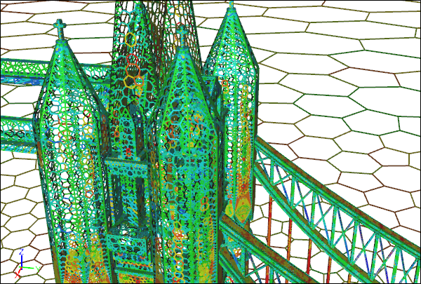 Tower Bridge CFD Polygon Surface Mesh