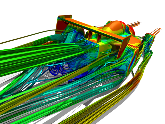 CFD Streamlines Around a Racecar