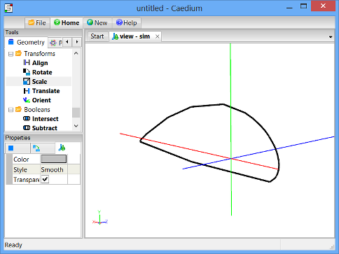 Airfoil scaled in the Y-direction