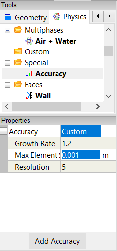 Accuracy Tool Properties