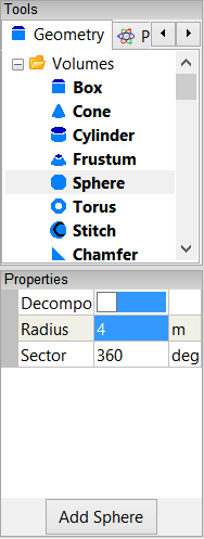 Settings for the sphere